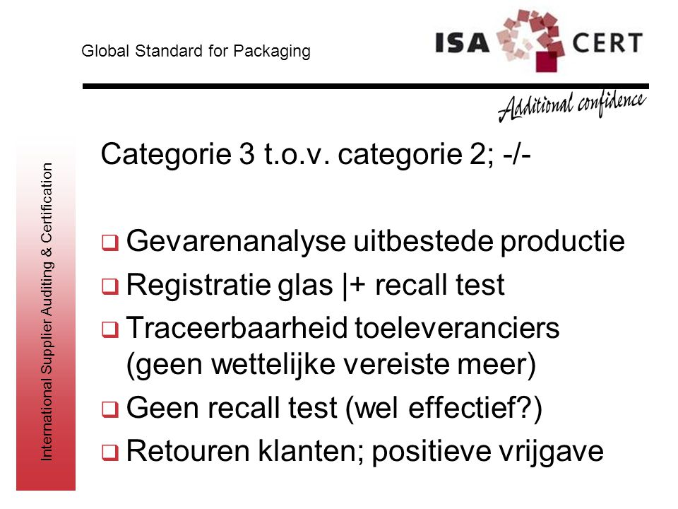 International Supplier Auditing & Certification Categorie 3 t.o.v. categorie 2; -/-  Gevarenanalyse uitbestede productie  Registratie glas |+ recall