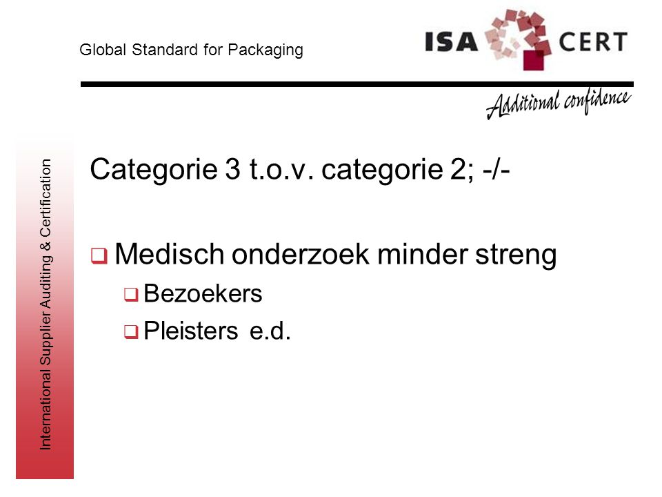 International Supplier Auditing & Certification Categorie 3 t.o.v. categorie 2; -/-  Medisch onderzoek minder streng  Bezoekers  Pleisters e.d. Glo