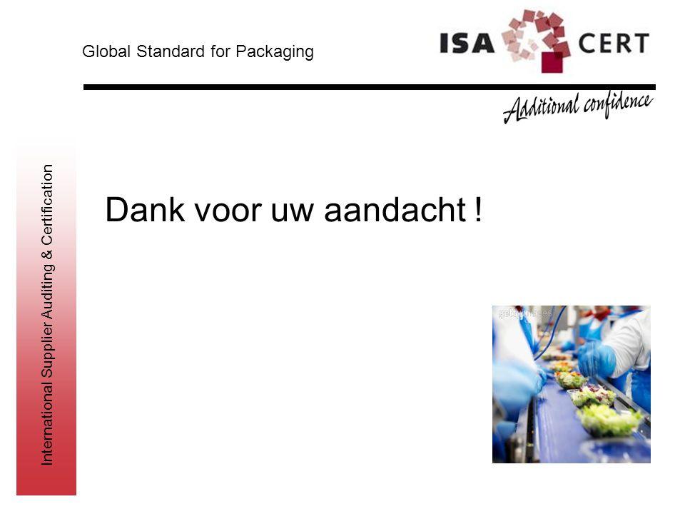 International Supplier Auditing & Certification Dank voor uw aandacht ! Global Standard for Packaging