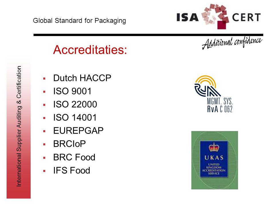 International Supplier Auditing & Certification Accreditaties:  Dutch HACCP  ISO 9001  ISO 22000  ISO 14001  EUREPGAP  BRCIoP  BRC Food  IFS F