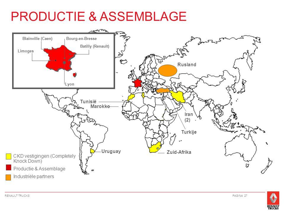 RENAULT TRUCKSPAGINA 27 PRODUCTIE & ASSEMBLAGE Lyon Bourg-en-Bresse Batilly (Renault) Limoges Blainville (Caen) CKD vestigingen (Completely Knock Down) Productie & Assemblage Industriële partners Iran (2) Zuid-Afrika Uruguay Tunisië Marokko Rusland Turkije