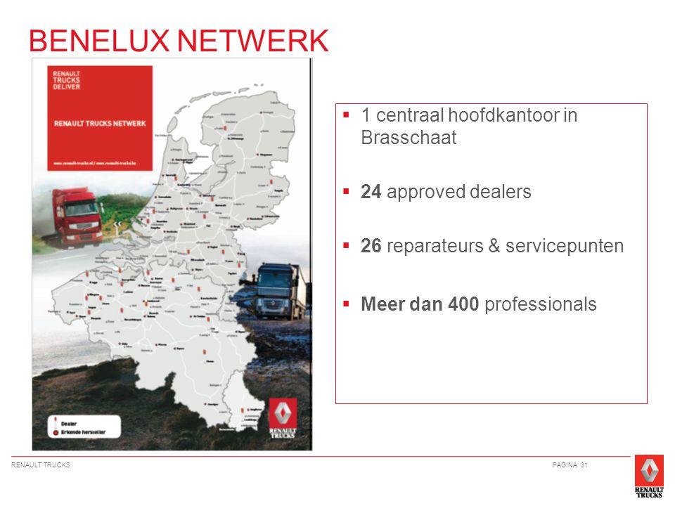 RENAULT TRUCKSPAGINA 31  1 centraal hoofdkantoor in Brasschaat  24 approved dealers  26 reparateurs & servicepunten  Meer dan 400 professionals BENELUX NETWERK