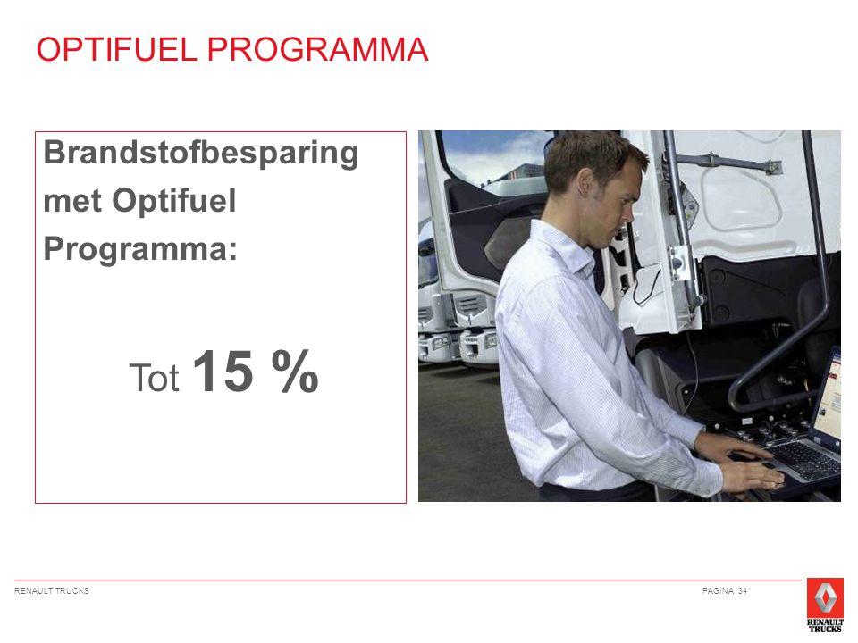 RENAULT TRUCKSPAGINA 34 OPTIFUEL PROGRAMMA Brandstofbesparing met Optifuel Programma: Tot 15 %