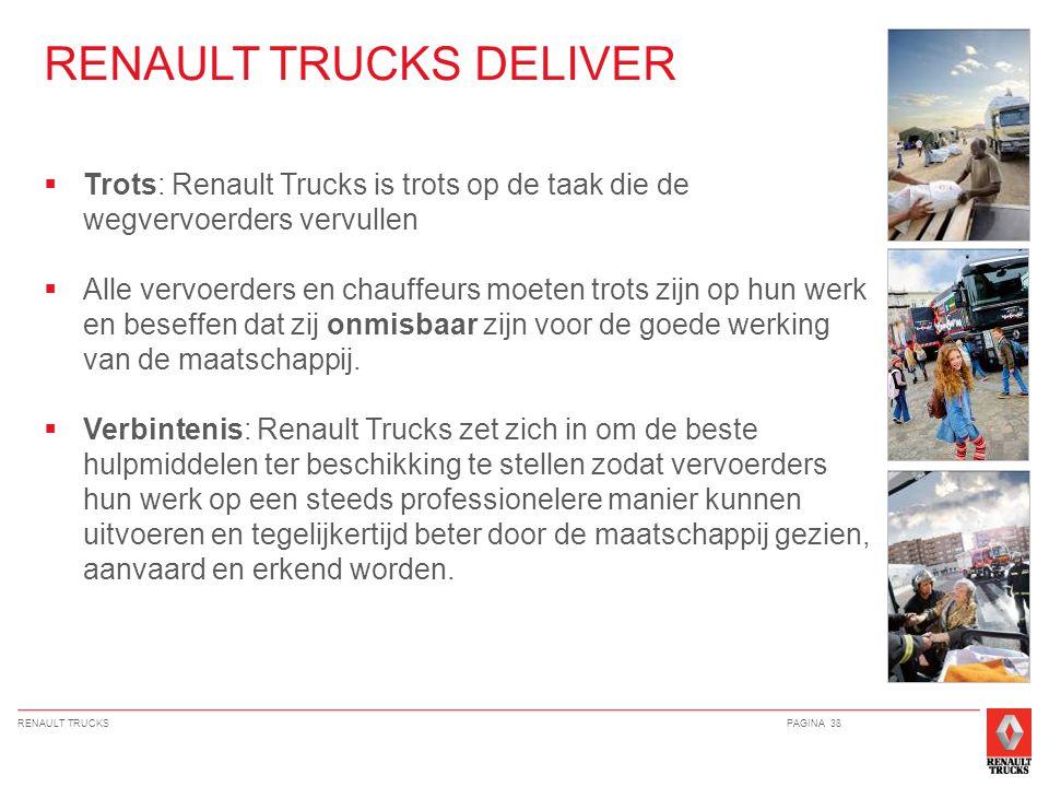 RENAULT TRUCKSPAGINA 38  Trots: Renault Trucks is trots op de taak die de wegvervoerders vervullen  Alle vervoerders en chauffeurs moeten trots zijn op hun werk en beseffen dat zij onmisbaar zijn voor de goede werking van de maatschappij.