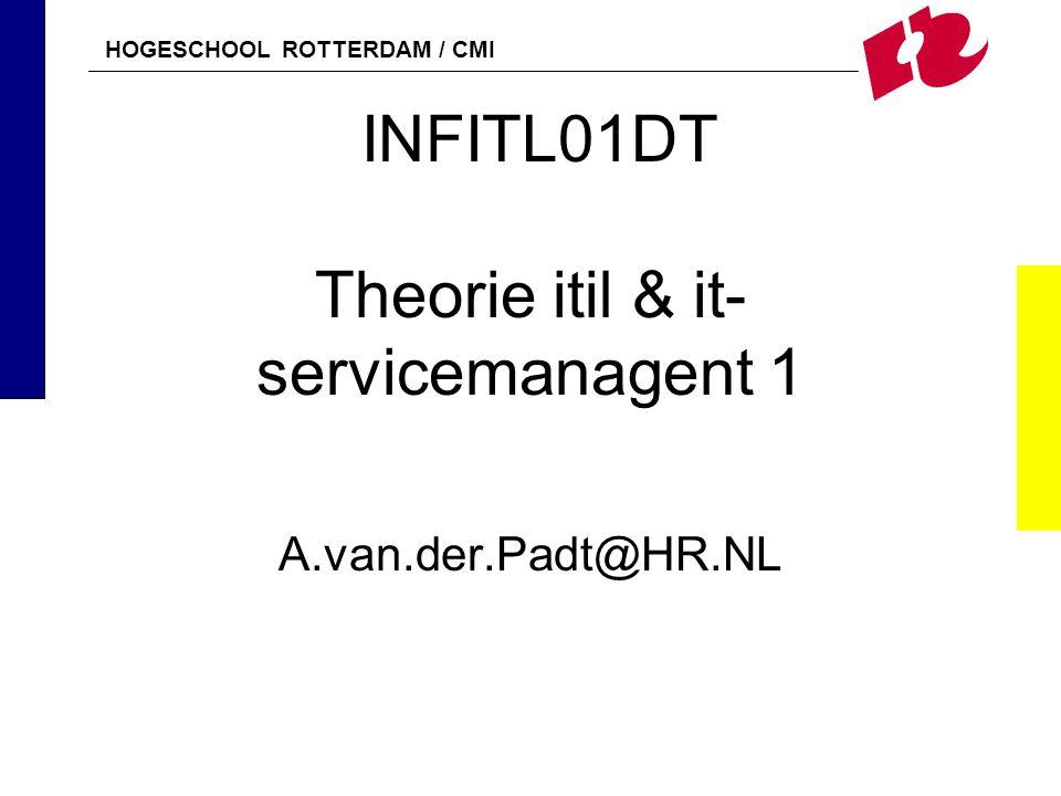 HOGESCHOOL ROTTERDAM / CMI INFITL01DT Theorie itil & it- servicemanagent 1 A.van.der.Padt@HR.NL