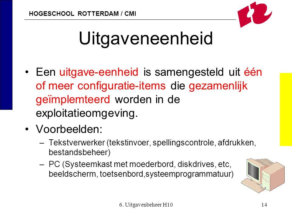 HOGESCHOOL ROTTERDAM / CMI 6. Uitgavenbeheer H1014 Uitgaveneenheid •Een uitgave-eenheid is samengesteld uit één of meer configuratie-items die gezamen