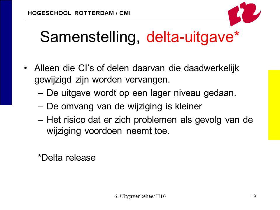 HOGESCHOOL ROTTERDAM / CMI 6. Uitgavenbeheer H1019 Samenstelling, delta-uitgave* •Alleen die CI's of delen daarvan die daadwerkelijk gewijzigd zijn wo