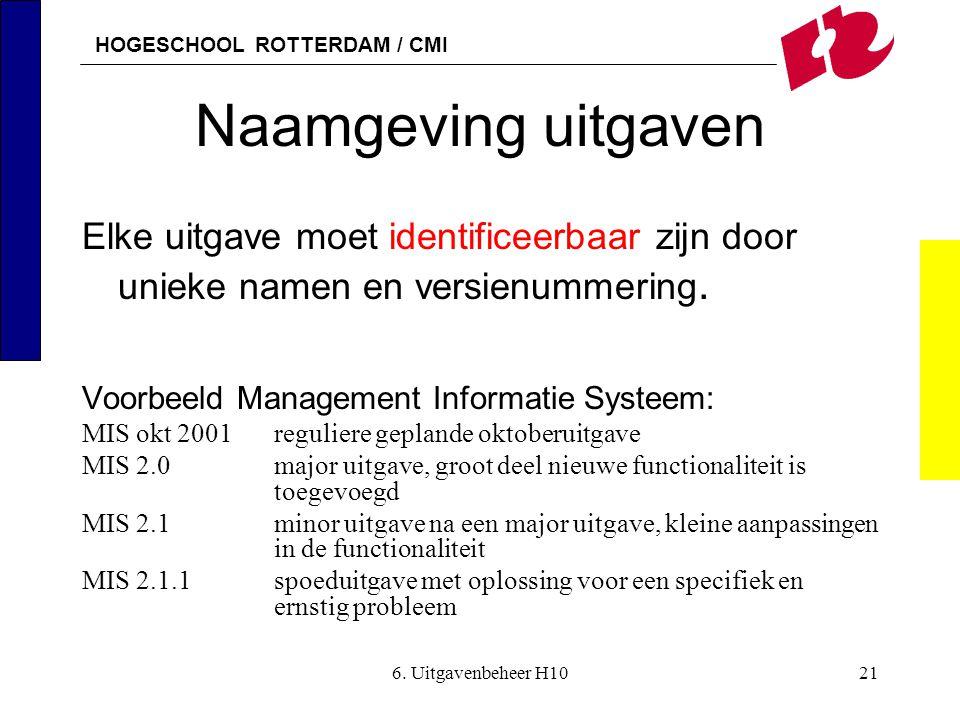 HOGESCHOOL ROTTERDAM / CMI 6. Uitgavenbeheer H1021 Naamgeving uitgaven Elke uitgave moet identificeerbaar zijn door unieke namen en versienummering. V