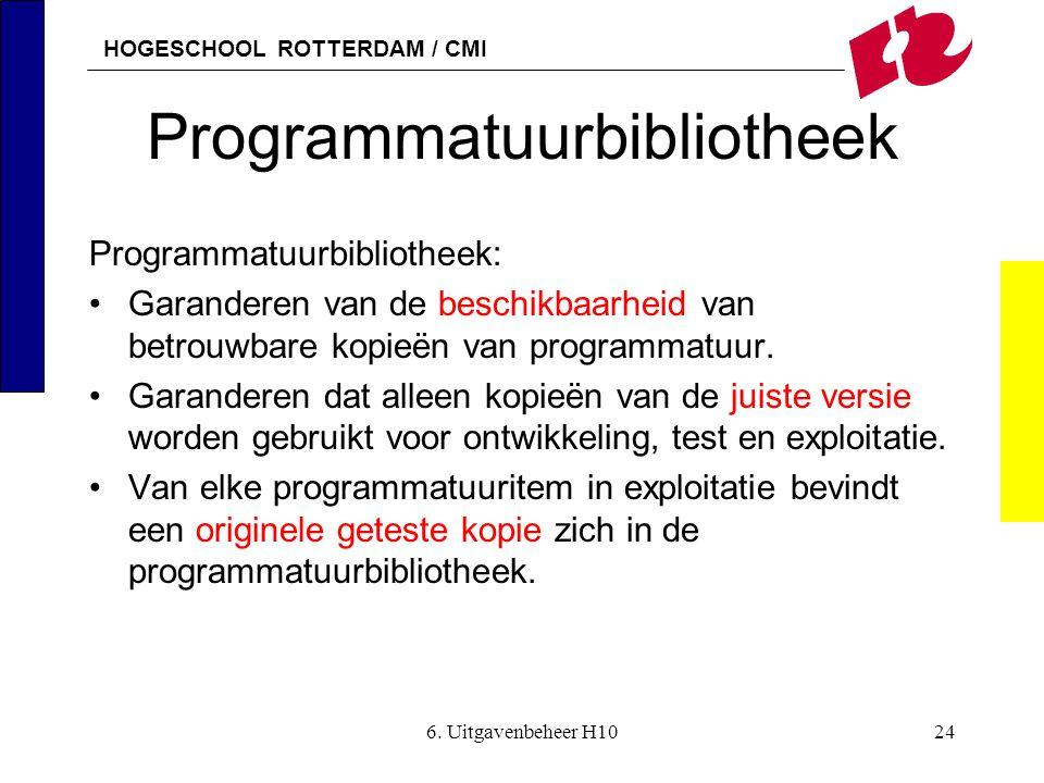 HOGESCHOOL ROTTERDAM / CMI 6. Uitgavenbeheer H1024 Programmatuurbibliotheek Programmatuurbibliotheek: •Garanderen van de beschikbaarheid van betrouwba