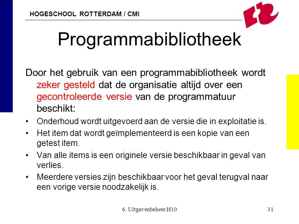 HOGESCHOOL ROTTERDAM / CMI 6. Uitgavenbeheer H1031 Programmabibliotheek Door het gebruik van een programmabibliotheek wordt zeker gesteld dat de organ