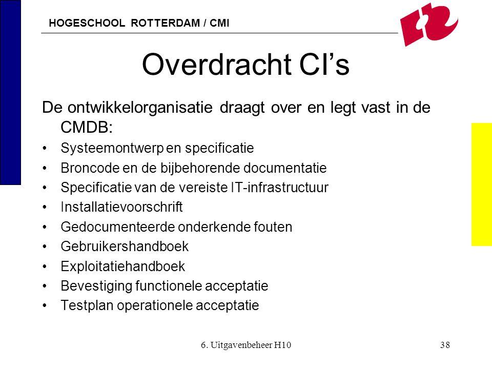 HOGESCHOOL ROTTERDAM / CMI 6. Uitgavenbeheer H1038 Overdracht CI's De ontwikkelorganisatie draagt over en legt vast in de CMDB: •Systeemontwerp en spe
