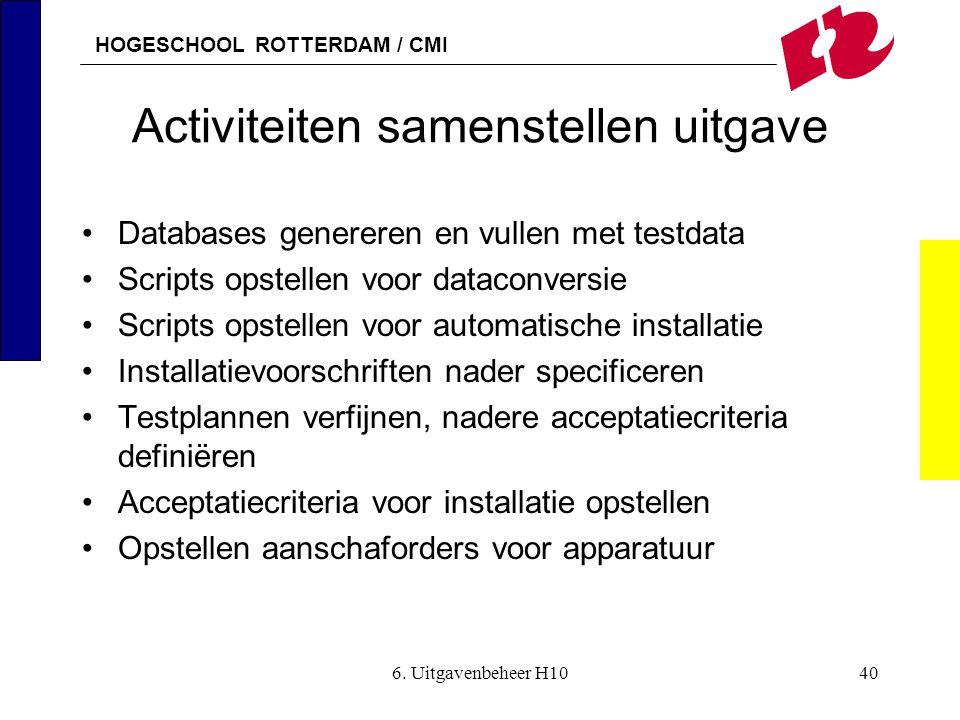 HOGESCHOOL ROTTERDAM / CMI 6. Uitgavenbeheer H1040 Activiteiten samenstellen uitgave •Databases genereren en vullen met testdata •Scripts opstellen vo