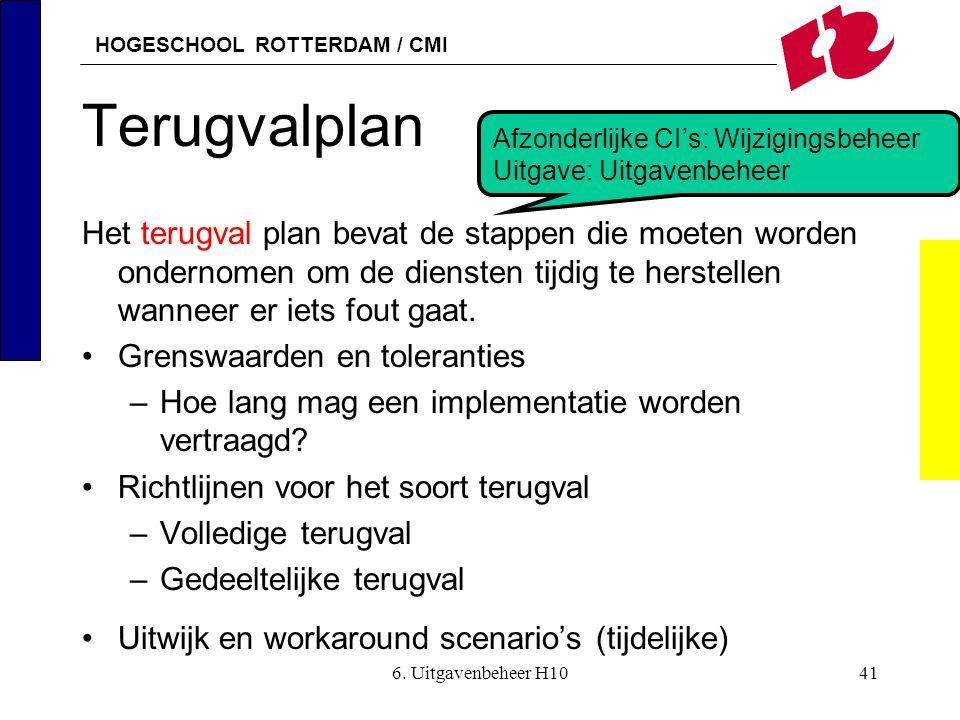 HOGESCHOOL ROTTERDAM / CMI 6. Uitgavenbeheer H1041 Terugvalplan Het terugval plan bevat de stappen die moeten worden ondernomen om de diensten tijdig