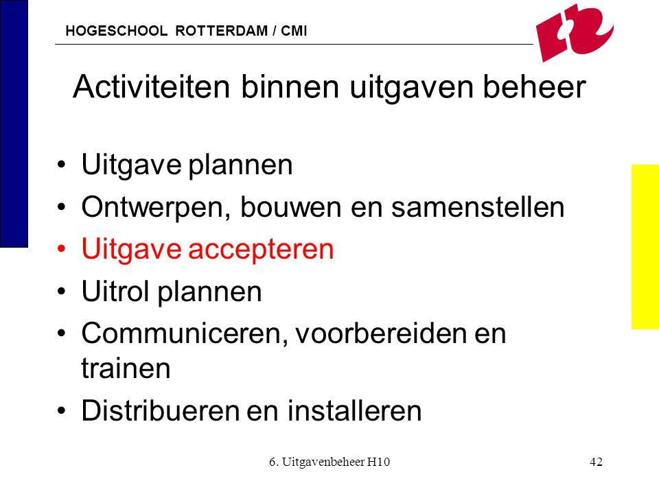 HOGESCHOOL ROTTERDAM / CMI 6. Uitgavenbeheer H1042 Activiteiten binnen uitgaven beheer •Uitgave plannen •Ontwerpen, bouwen en samenstellen •Uitgave ac