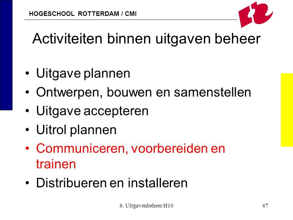HOGESCHOOL ROTTERDAM / CMI 6. Uitgavenbeheer H1047 Activiteiten binnen uitgaven beheer •Uitgave plannen •Ontwerpen, bouwen en samenstellen •Uitgave ac