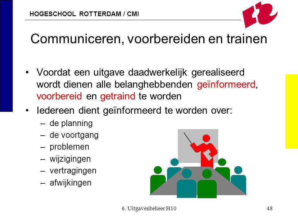 HOGESCHOOL ROTTERDAM / CMI 6. Uitgavenbeheer H1048 Communiceren, voorbereiden en trainen •Voordat een uitgave daadwerkelijk gerealiseerd wordt dienen