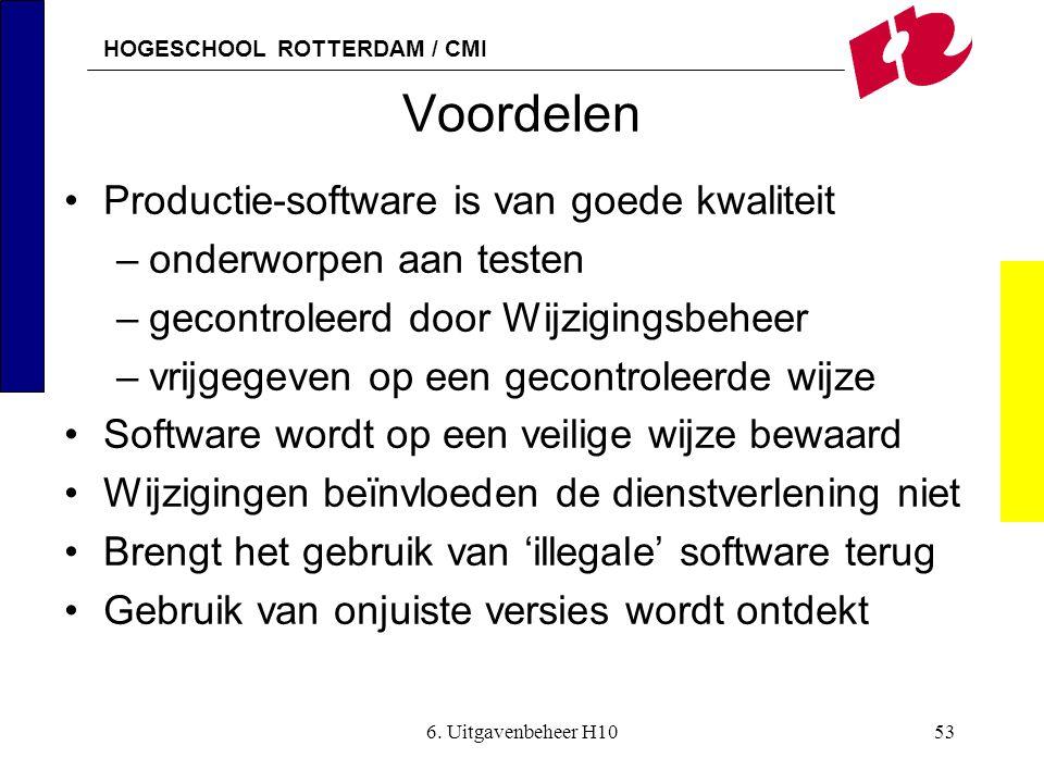 HOGESCHOOL ROTTERDAM / CMI 6. Uitgavenbeheer H1053 Voordelen •Productie-software is van goede kwaliteit –onderworpen aan testen –gecontroleerd door Wi