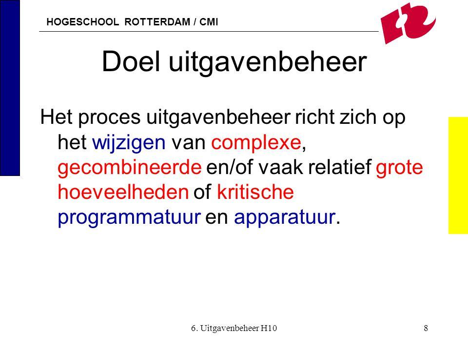 HOGESCHOOL ROTTERDAM / CMI 6. Uitgavenbeheer H108 Doel uitgavenbeheer Het proces uitgavenbeheer richt zich op het wijzigen van complexe, gecombineerde