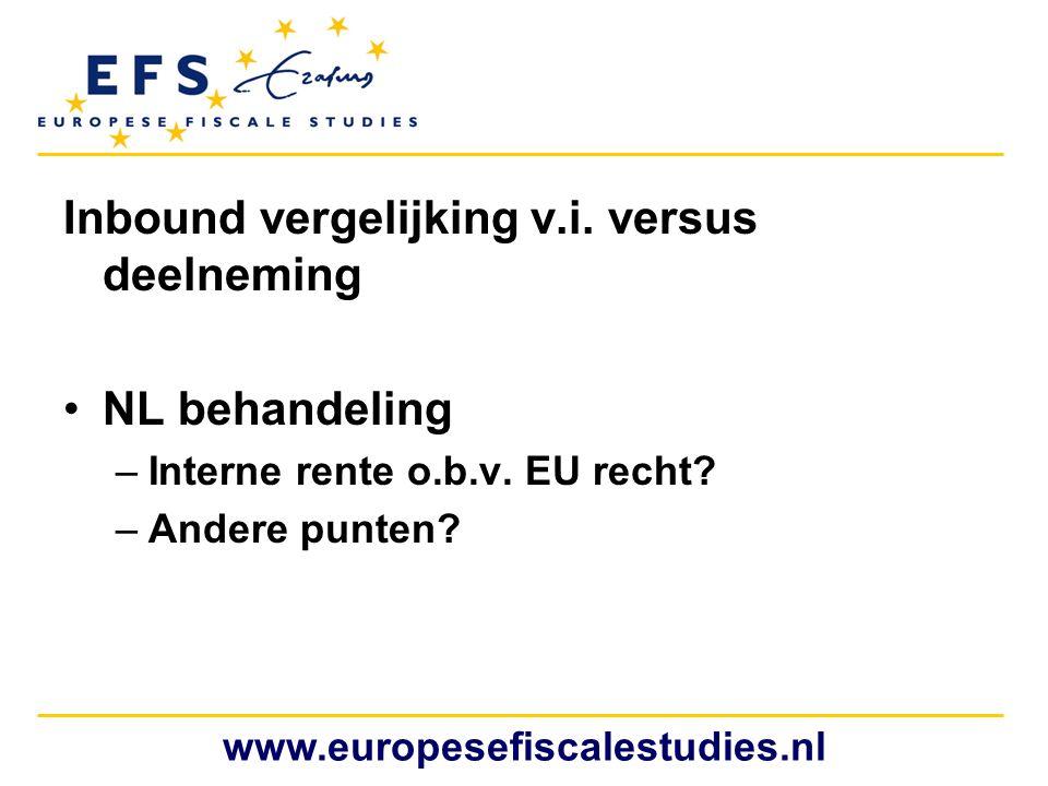 Inbound vergelijking v.i. versus deelneming •NL behandeling –Interne rente o.b.v. EU recht? –Andere punten? www.europesefiscalestudies.nl