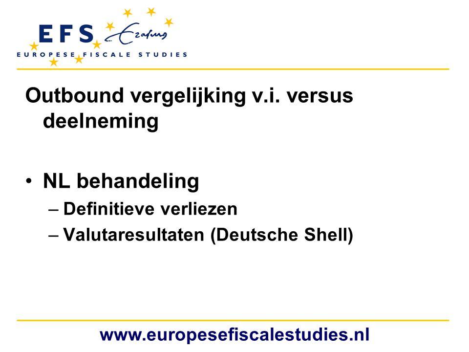 Outbound vergelijking v.i. versus deelneming •NL behandeling –Definitieve verliezen –Valutaresultaten (Deutsche Shell) www.europesefiscalestudies.nl