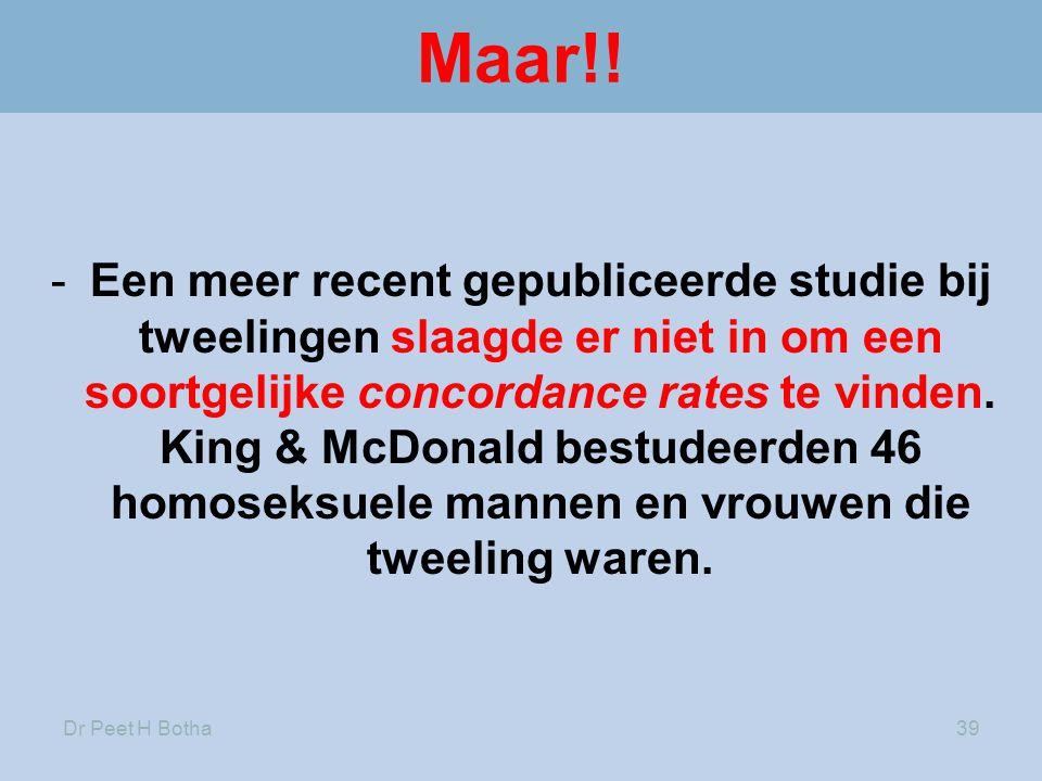 Dr Peet H Botha39 Maar!! -Een meer recent gepubliceerde studie bij tweelingen slaagde er niet in om een soortgelijke concordance rates te vinden. King