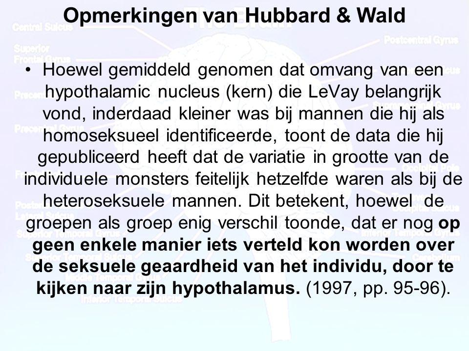 Dr Peet H Botha45 Opmerkingen van Hubbard & Wald •Hoewel gemiddeld genomen dat omvang van een hypothalamic nucleus (kern) die LeVay belangrijk vond, inderdaad kleiner was bij mannen die hij als homoseksueel identificeerde, toont de data die hij gepubliceerd heeft dat de variatie in grootte van de individuele monsters feitelijk hetzelfde waren als bij de heteroseksuele mannen.