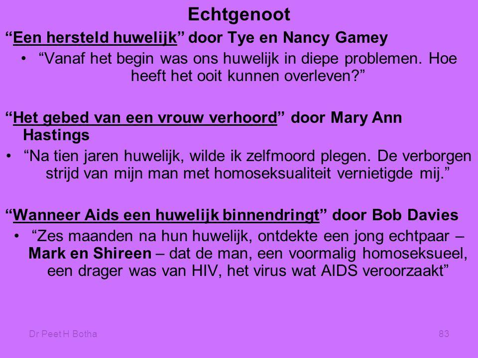 """Dr Peet H Botha83 Echtgenoot """"Een hersteld huwelijk"""" door Tye en Nancy Gamey •""""Vanaf het begin was ons huwelijk in diepe problemen. Hoe heeft het ooit"""