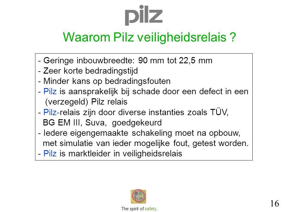 16 The spirit of safety. Waarom Pilz veiligheidsrelais ? - Geringe inbouwbreedte: 90 mm tot 22,5 mm - Zeer korte bedradingstijd - Minder kans op bedra