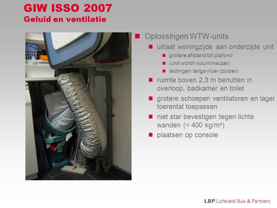 GIW ISSO 2007 Geluid en ventilatie  Oplossingen WTW-units  uitlaat woningzijde aan onderzijde unit  grotere afstand tot plafond  (unit wordt volumineuzer)  leidingen langs vloer (zolder)  ruimte boven 2,3 m benutten in overloop, badkamer en toilet  grotere schoepen ventilatoren en lager toerental toepassen  niet star bevestigen tegen lichte wanden (< 400 kg/m²)  plaatsen op console