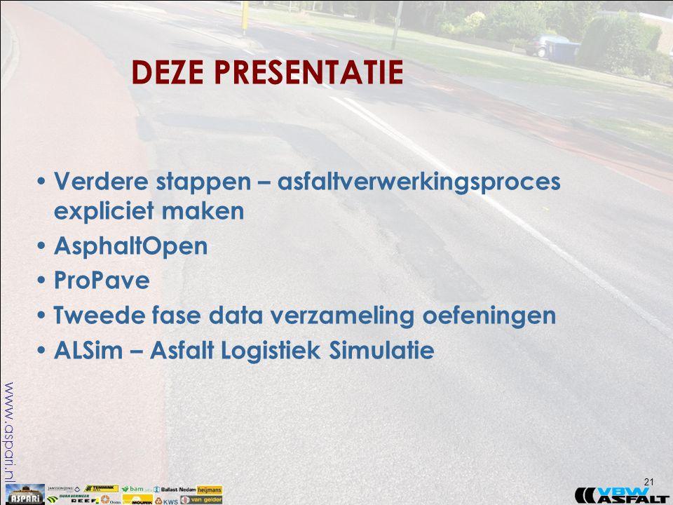 www.aspari.nl • Verdere stappen – asfaltverwerkingsproces expliciet maken • AsphaltOpen • ProPave • Tweede fase data verzameling oefeningen • ALSim – Asfalt Logistiek Simulatie DEZE PRESENTATIE 21