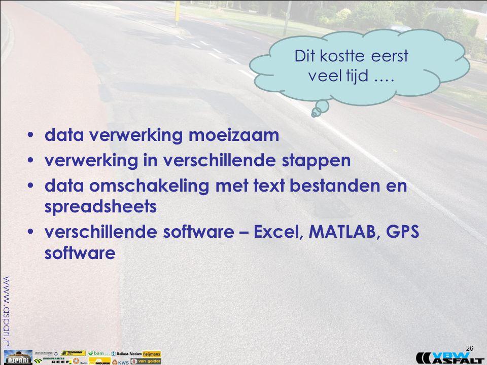 www.aspari.nl • data verwerking moeizaam • verwerking in verschillende stappen • data omschakeling met text bestanden en spreadsheets • verschillende software – Excel, MATLAB, GPS software 26 Dit kostte eerst veel tijd ….