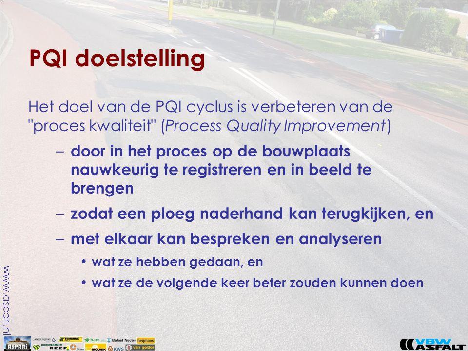 www.aspari.nl PQI doelstelling Het doel van de PQI cyclus is verbeteren van de proces kwaliteit (Process Quality Improvement) – door in het proces op de bouwplaats nauwkeurig te registreren en in beeld te brengen – zodat een ploeg naderhand kan terugkijken, en – met elkaar kan bespreken en analyseren • wat ze hebben gedaan, en • wat ze de volgende keer beter zouden kunnen doen