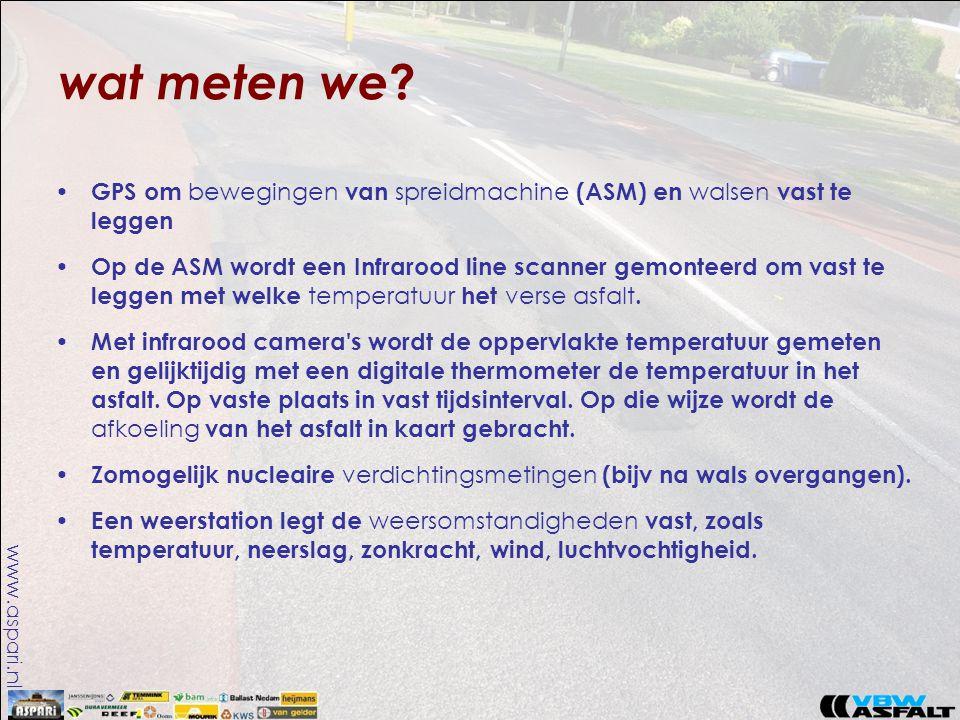 www.aspari.nl wat meten we ? • GPS om bewegingen van spreidmachine (ASM) en walsen vast te leggen • Op de ASM wordt een Infrarood line scanner gemonte