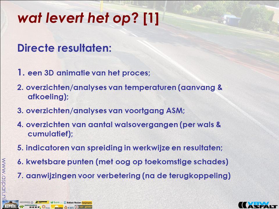 www.aspari.nl wat levert het op ? [1] Directe resultaten: 1. een 3D animatie van het proces; 2. overzichten/analyses van temperaturen (aanvang & afkoe