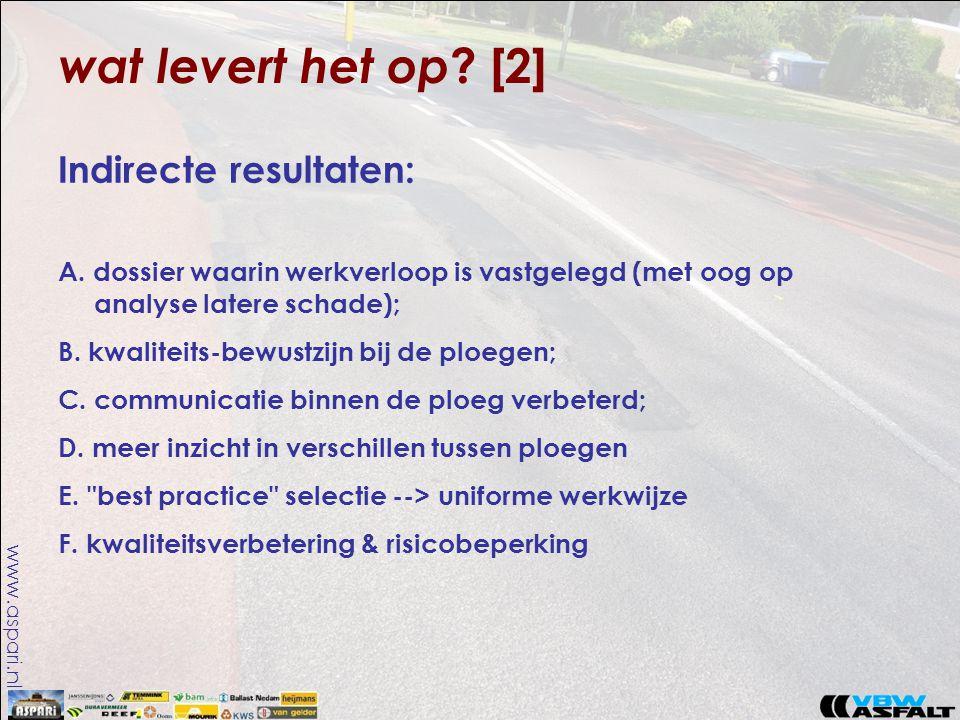 www.aspari.nl wat levert het op ? [2] Indirecte resultaten: A. dossier waarin werkverloop is vastgelegd (met oog op analyse latere schade); B. kwalite