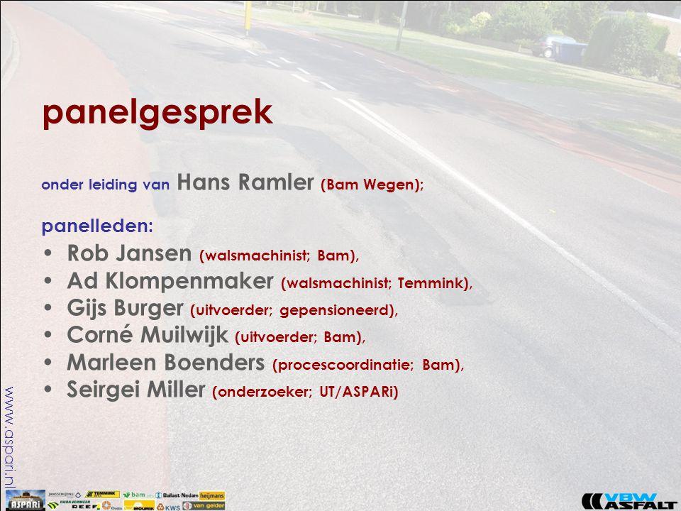 www.aspari.nl panelgesprek onder leiding van Hans Ramler (Bam Wegen); panelleden: • Rob Jansen (walsmachinist; Bam), • Ad Klompenmaker (walsmachinist; Temmink), • Gijs Burger (uitvoerder; gepensioneerd), • Corné Muilwijk (uitvoerder; Bam), • Marleen Boenders (procescoordinatie; Bam), • Seirgei Miller (onderzoeker; UT/ASPARi)