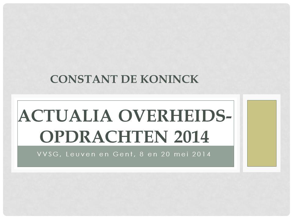 INHOUD UITEENZETTING 1)Nieuwe Europese drempelbedragen periode 2014/2015 2)Wijzigingen aan uitvoeringsbesluiten ten gevolge van reparatie-KB van 7 februari 2014 (BS 21 februari 2014) 3)(Voorgenomen) wijzigingen aan KB AUR van 14 januari 2013 – Overzicht van de te verwachten aanpassingen zoals blijkend uit meest recente ontwerp van reparatie-KB 4)Nieuwe overheidsopdrachtenrichtlijnen gepubliceerd 5)Enkele knelpunten bij de uitvoering van overheids- opdrachten 2