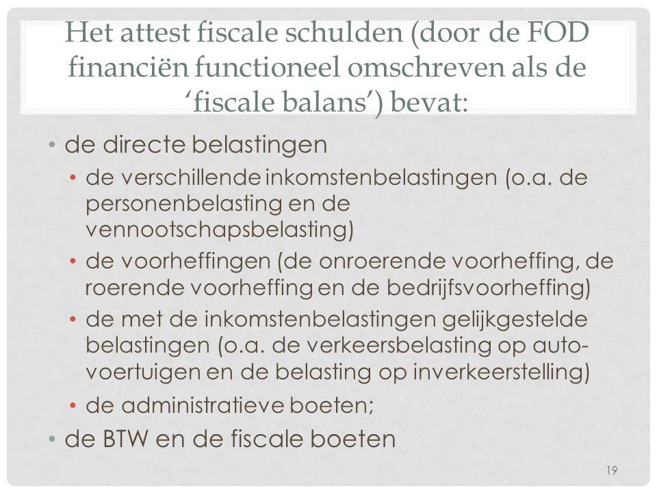 Het attest fiscale schulden (door de FOD financiën functioneel omschreven als de 'fiscale balans') bevat: • de directe belastingen • de verschillende