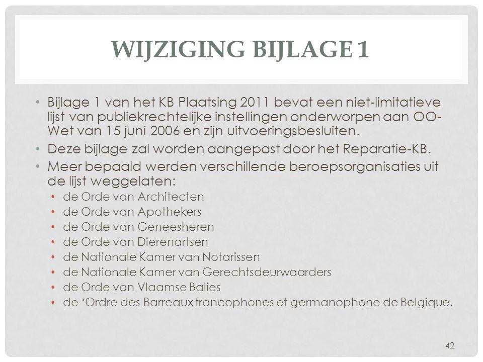WIJZIGING BIJLAGE 1 • Bijlage 1 van het KB Plaatsing 2011 bevat een niet-limitatieve lijst van publiekrechtelijke instellingen onderworpen aan OO- Wet
