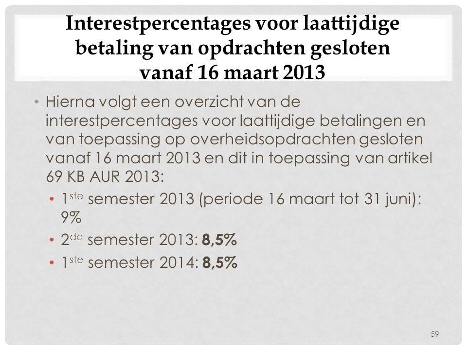 Interestpercentages voor laattijdige betaling van opdrachten gesloten vanaf 16 maart 2013 • Hierna volgt een overzicht van de interestpercentages voor