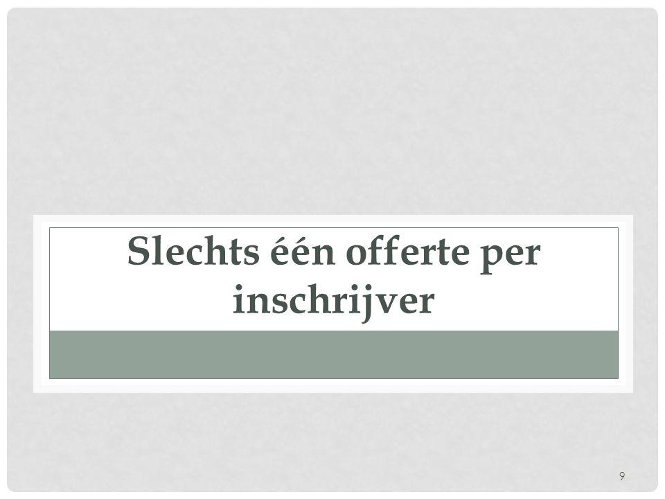 Uitzonderingen • Vereiste van gunningscriteria echter niet van toepassing in volgende gevallen: • wanneer het gaat om niet-prioritaire diensten (opgesomd in bijlage II, B, OO-Wet 2006) • de diverse gevallen van OHP zonder bekendmaking (OHPZB) waarvoor slechts één opdrachtnemer kan worden geraadpleegd.