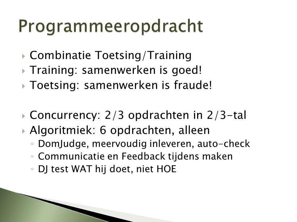  Combinatie Toetsing/Training  Training: samenwerken is goed!  Toetsing: samenwerken is fraude!  Concurrency: 2/3 opdrachten in 2/3-tal  Algoritm