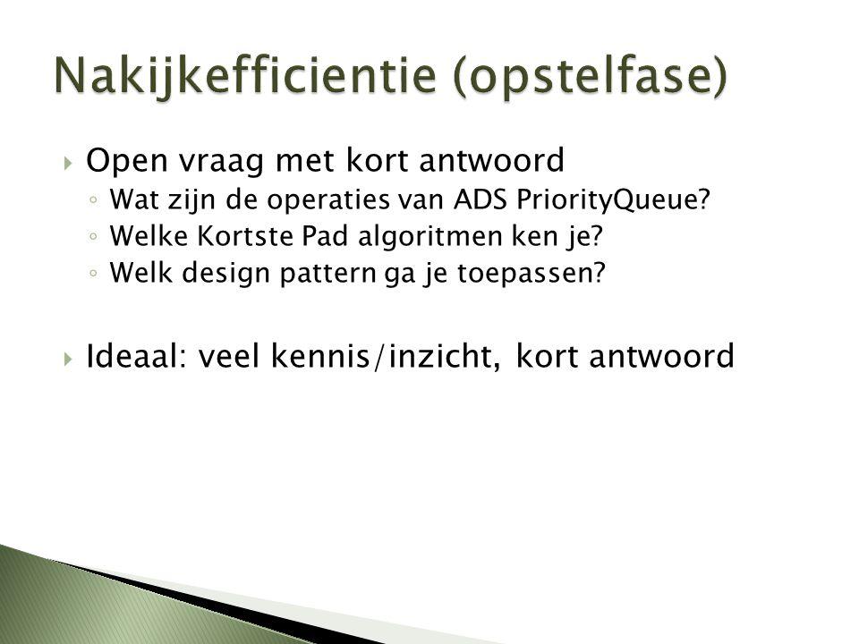  Open vraag met kort antwoord ◦ Wat zijn de operaties van ADS PriorityQueue? ◦ Welke Kortste Pad algoritmen ken je? ◦ Welk design pattern ga je toepa
