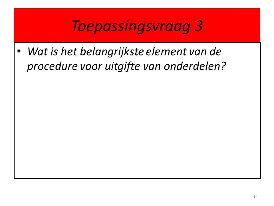 Toepassingsvraag 3 • Wat is het belangrijkste element van de procedure voor uitgifte van onderdelen? 12