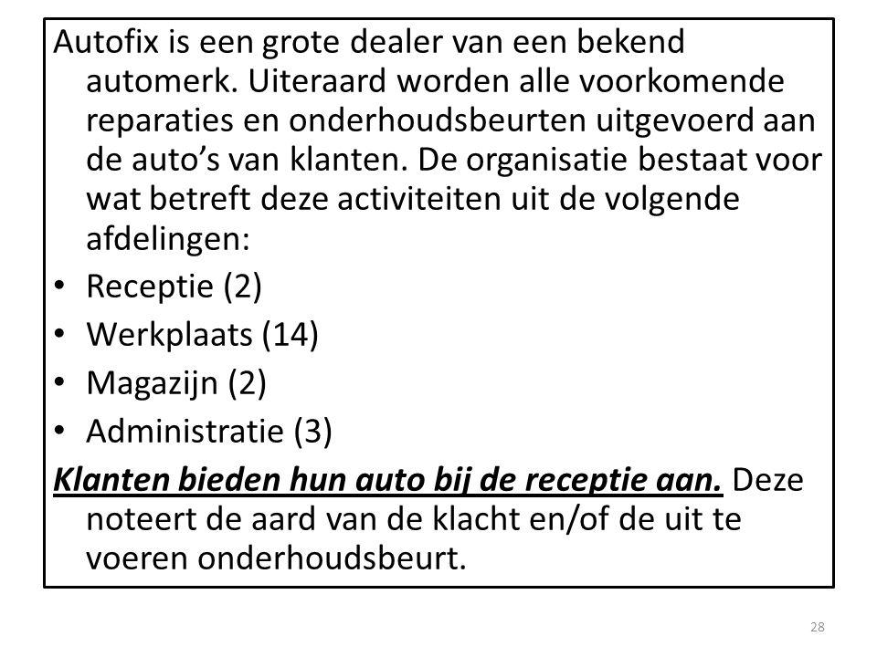 Autofix is een grote dealer van een bekend automerk.