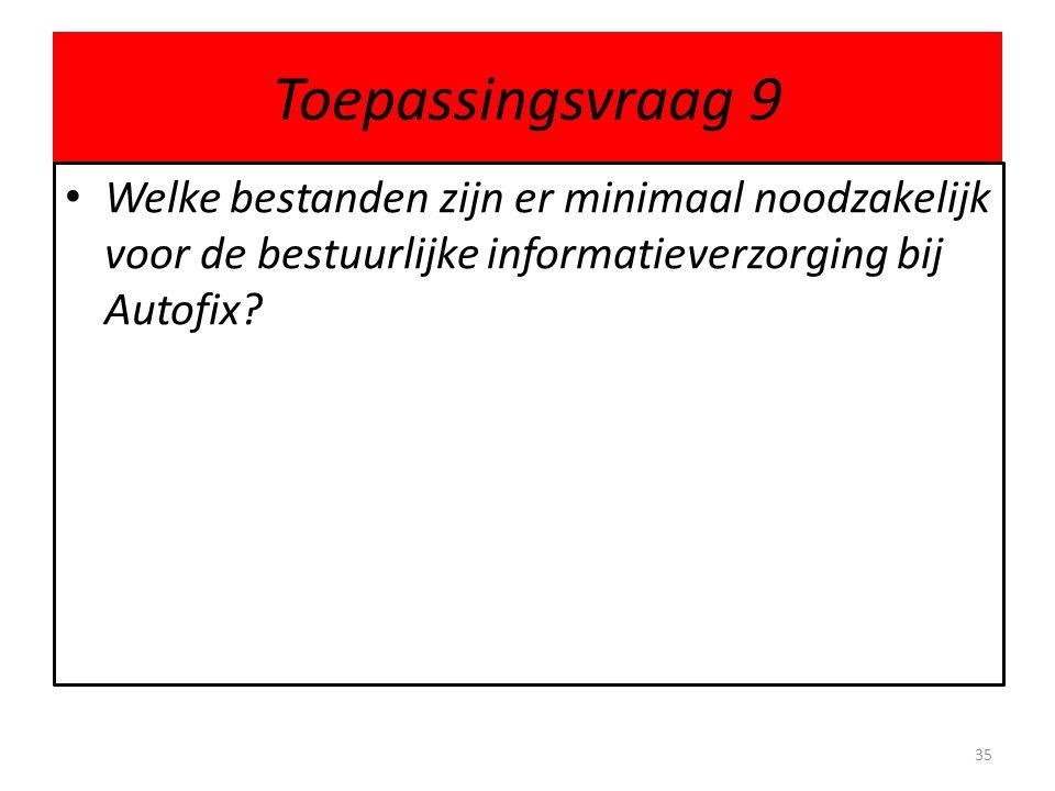 Toepassingsvraag 9 • Welke bestanden zijn er minimaal noodzakelijk voor de bestuurlijke informatieverzorging bij Autofix.