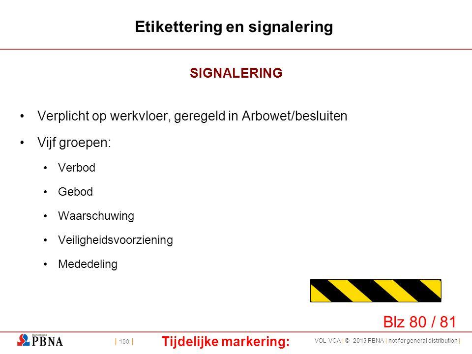 | 100 | VOL VCA | © 2013 PBNA | not for general distribution | Etikettering en signalering SIGNALERING •Verplicht op werkvloer, geregeld in Arbowet/be