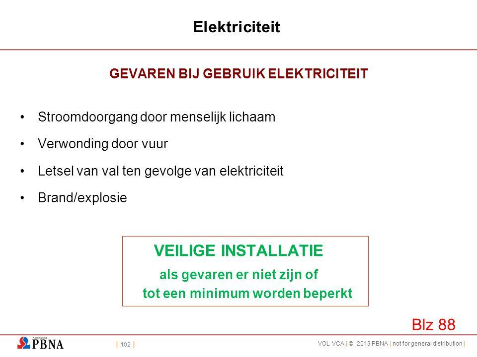 | 102 | VOL VCA | © 2013 PBNA | not for general distribution | Elektriciteit GEVAREN BIJ GEBRUIK ELEKTRICITEIT •Stroomdoorgang door menselijk lichaam