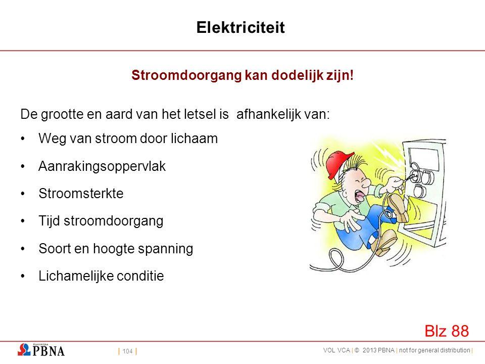| 104 | VOL VCA | © 2013 PBNA | not for general distribution | Elektriciteit Stroomdoorgang kan dodelijk zijn! De grootte en aard van het letsel is af