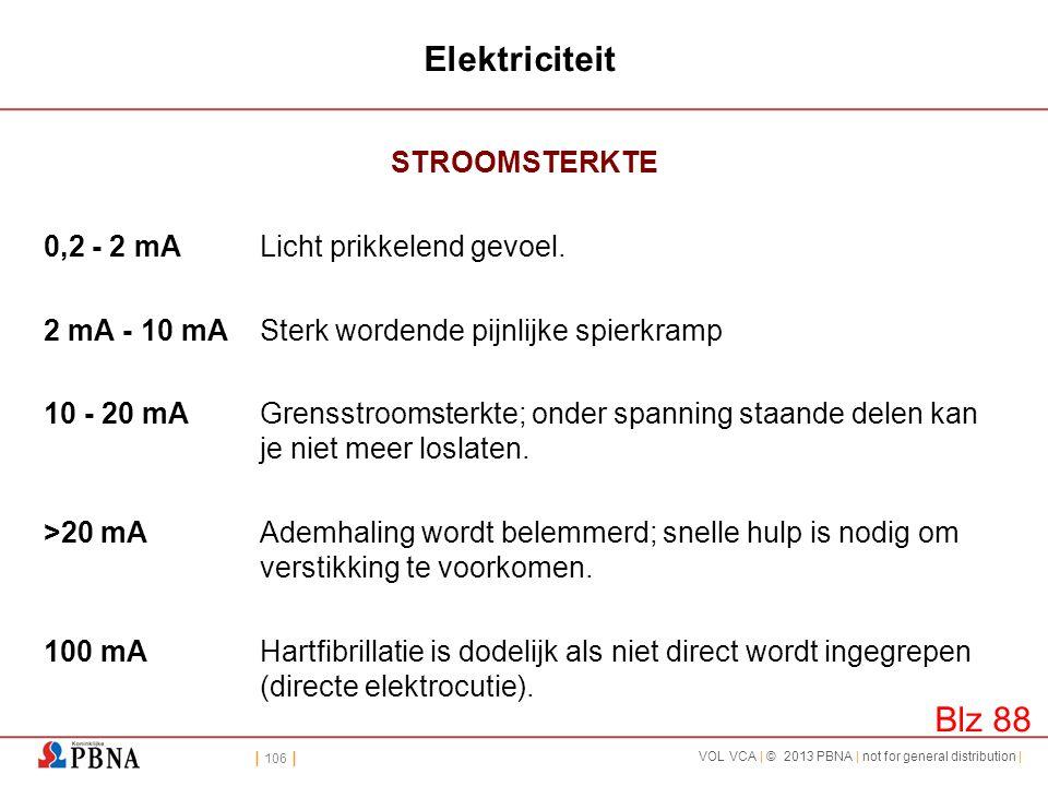 | 106 | VOL VCA | © 2013 PBNA | not for general distribution | Elektriciteit STROOMSTERKTE 0,2 - 2 mALicht prikkelend gevoel. 2 mA - 10 mASterk worden